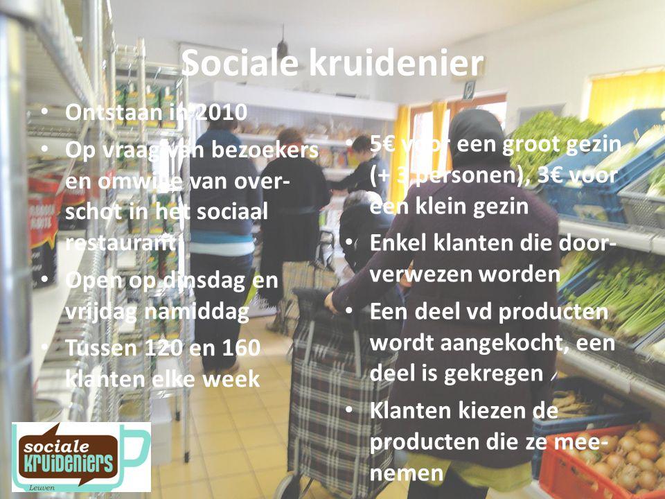 Partners CAW Oost Brabant, RISO Vlaams Brabant, OCMW Leuven, integratiedienst Leuven, wijkgezondheidscentrum, buurt- centra stad, buurtcentrum 't Lampeke, kringwinkel 't SPIT Carrefour, Bioplanet, Voedselbank – BIRB (groenten veiling) Steunpunt armoedebestrijding, Vlaams Netwerk van Ver- enigingen waar Armen het Woord nemen Sociale Kruideniers Vlaanderen GTB, VDAB PricewaterhouseCoopers
