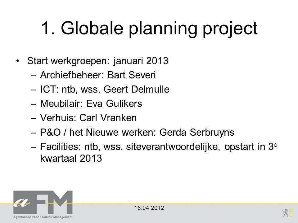 1. Globale planning project Start werkgroepen: januari 2013 –Archiefbeheer: Bart Severi –ICT: ntb, wss. Geert Delmulle –Meubilair: Eva Gulikers –Verhu
