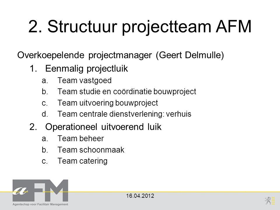 2. Structuur projectteam AFM 16.04.2012 Overkoepelende projectmanager (Geert Delmulle) 1.Eenmalig projectluik a.Team vastgoed b.Team studie en coördin