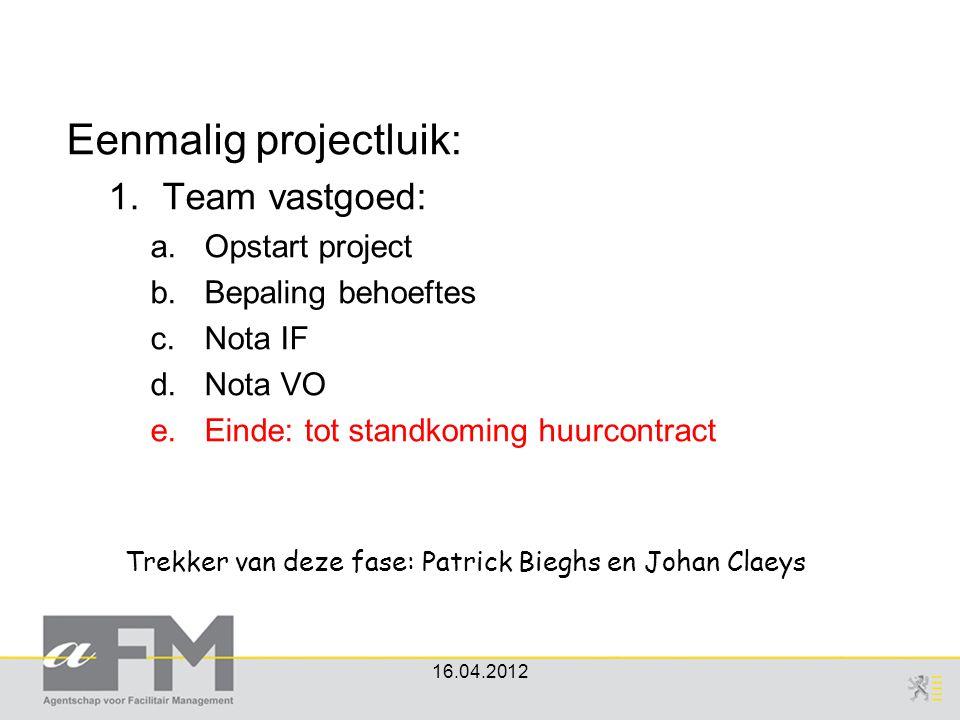 Eenmalig projectluik: 1.Team vastgoed: a.Opstart project b.Bepaling behoeftes c.Nota IF d.Nota VO e.Einde: tot standkoming huurcontract 16.04.2012 Tre