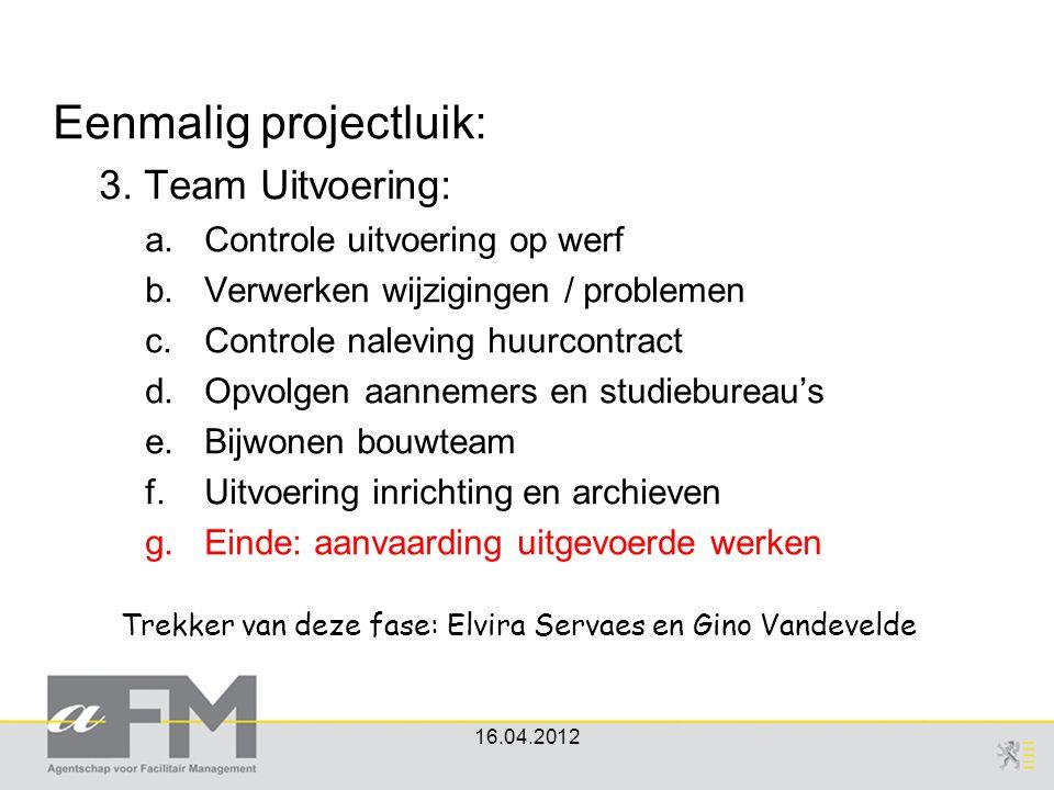 Eenmalig projectluik: 3. Team Uitvoering: a.Controle uitvoering op werf b.Verwerken wijzigingen / problemen c.Controle naleving huurcontract d.Opvolge