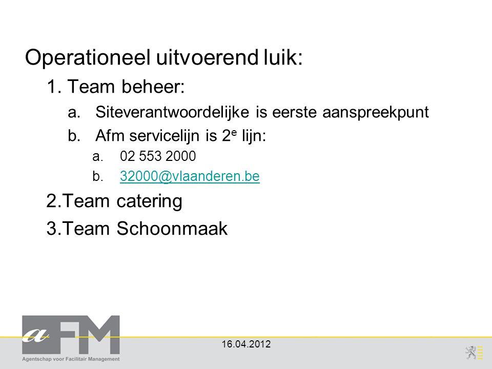 Operationeel uitvoerend luik: 1. Team beheer: a.Siteverantwoordelijke is eerste aanspreekpunt b.Afm servicelijn is 2 e lijn: a.02 553 2000 b.32000@vla