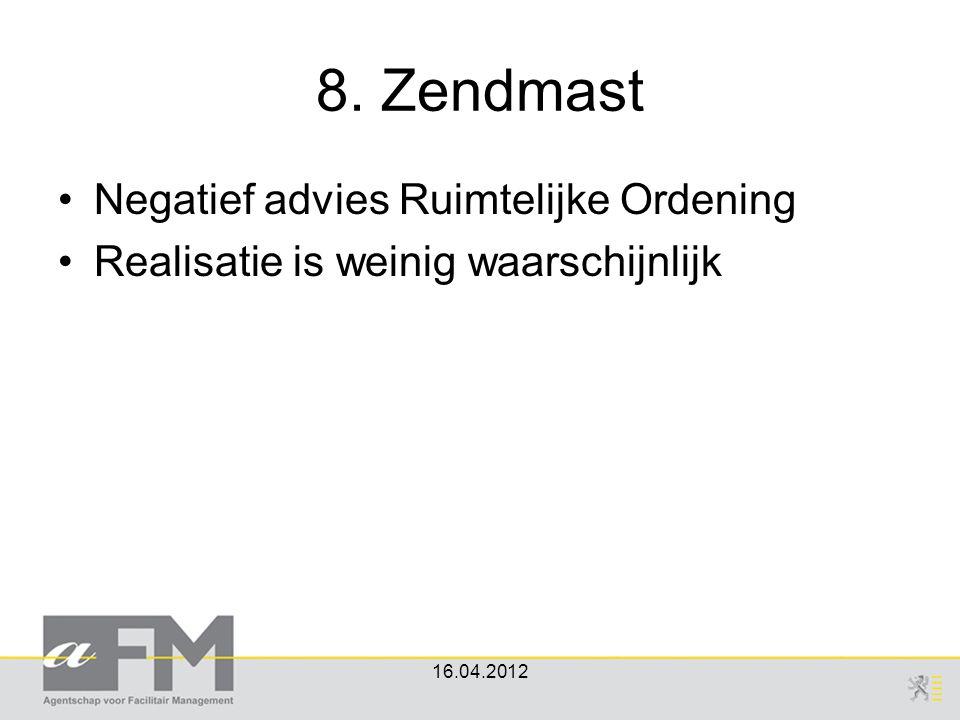 8. Zendmast Negatief advies Ruimtelijke Ordening Realisatie is weinig waarschijnlijk 16.04.2012