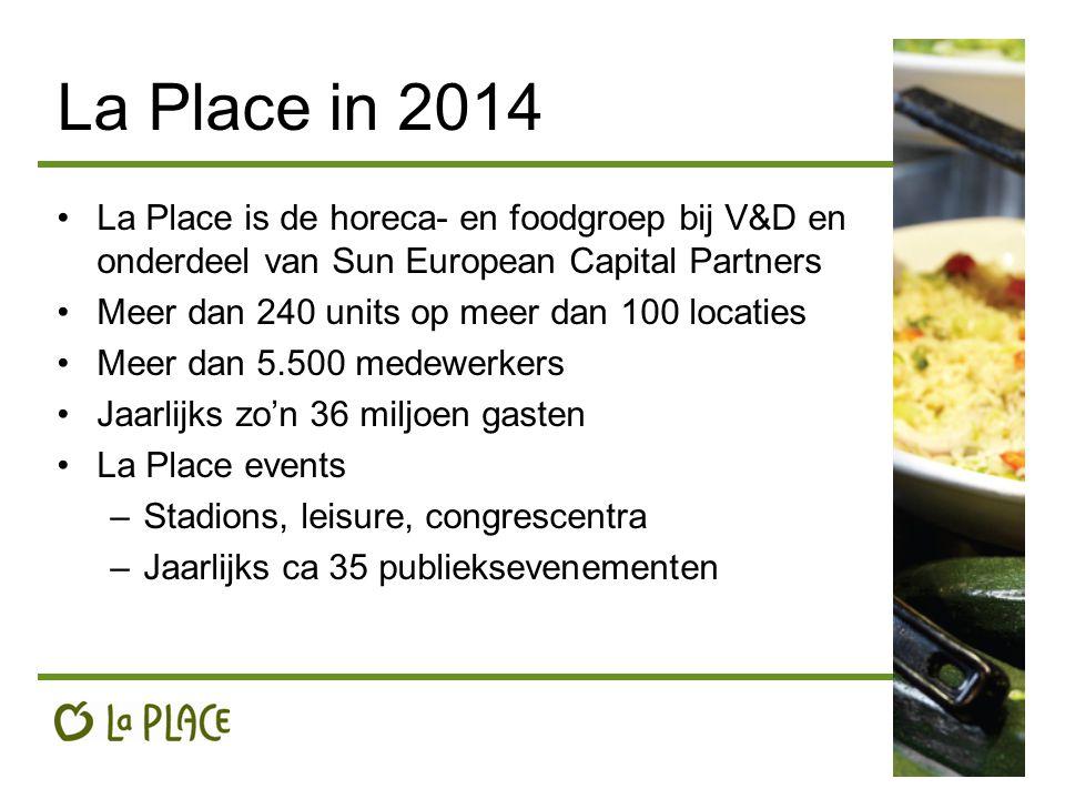 La Place in 2014 La Place is de horeca- en foodgroep bij V&D en onderdeel van Sun European Capital Partners Meer dan 240 units op meer dan 100 locaties Meer dan 5.500 medewerkers Jaarlijks zo'n 36 miljoen gasten La Place events –Stadions, leisure, congrescentra –Jaarlijks ca 35 publieksevenementen