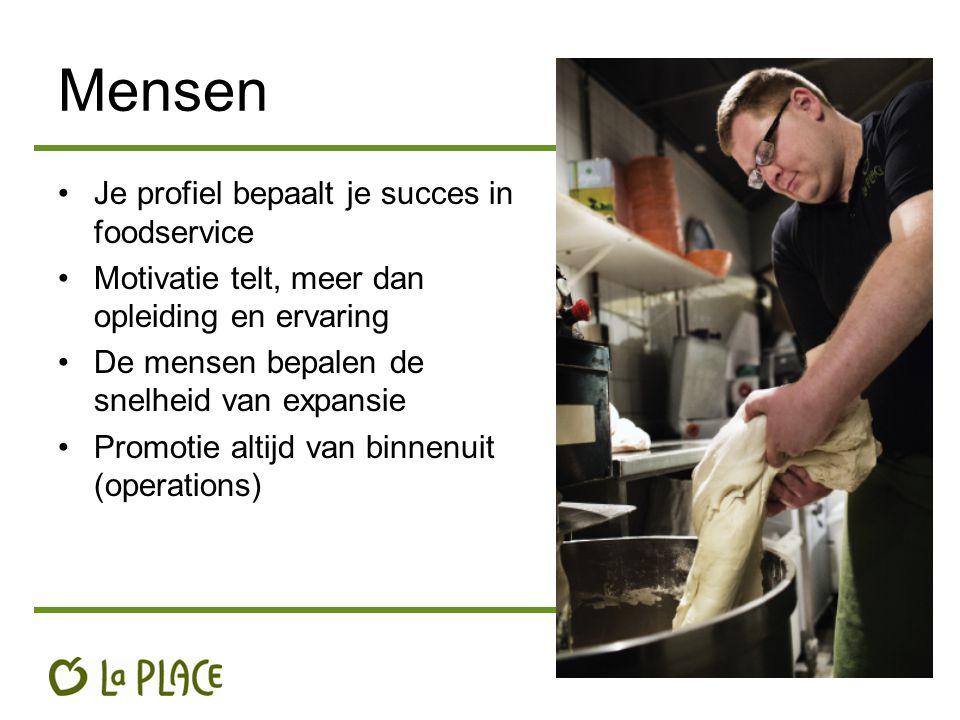 Mensen Je profiel bepaalt je succes in foodservice Motivatie telt, meer dan opleiding en ervaring De mensen bepalen de snelheid van expansie Promotie