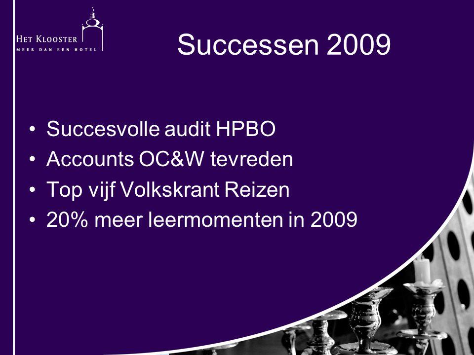 Succesvolle audit HPBO Accounts OC&W tevreden Top vijf Volkskrant Reizen 20% meer leermomenten in 2009 Successen 2009