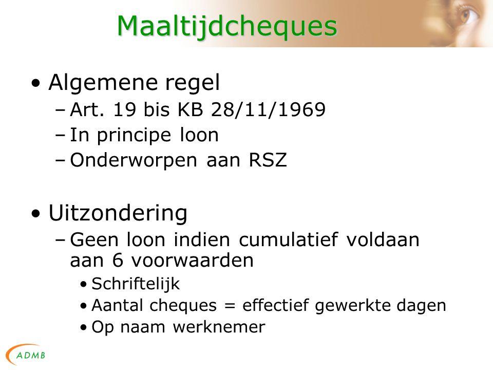 Maaltijdcheques Algemene regel –Art.