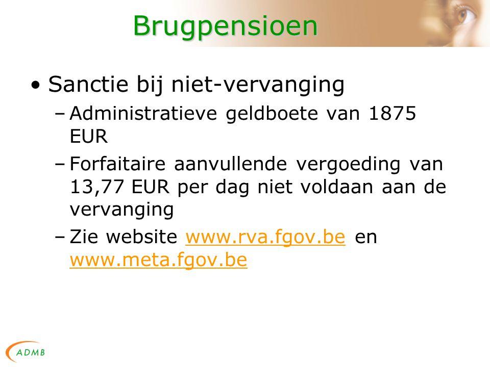 Brugpensioen Sanctie bij niet-vervanging –Administratieve geldboete van 1875 EUR –Forfaitaire aanvullende vergoeding van 13,77 EUR per dag niet voldaan aan de vervanging –Zie website www.rva.fgov.be en www.meta.fgov.bewww.rva.fgov.be www.meta.fgov.be