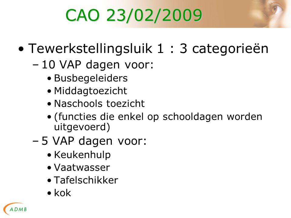 CAO 23/02/2009 Tewerkstellingsluik 1 : 3 categorieën –10 VAP dagen voor: Busbegeleiders Middagtoezicht Naschools toezicht (functies die enkel op schooldagen worden uitgevoerd) –5 VAP dagen voor: Keukenhulp Vaatwasser Tafelschikker kok