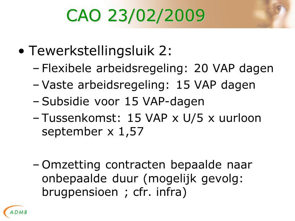 CAO 23/02/2009 Tewerkstellingsluik 2: –Flexibele arbeidsregeling: 20 VAP dagen –Vaste arbeidsregeling: 15 VAP dagen –Subsidie voor 15 VAP-dagen –Tussenkomst: 15 VAP x U/5 x uurloon september x 1,57 –Omzetting contracten bepaalde naar onbepaalde duur (mogelijk gevolg: brugpensioen ; cfr.