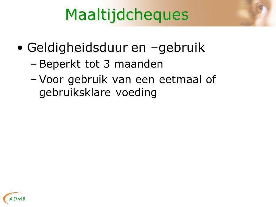 Maaltijdcheques Tussenkomst werkgever –Max 5,91 EUR / dag (B.S.