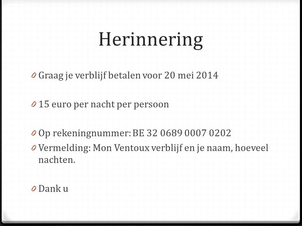 Herinnering 0 Graag je verblijf betalen voor 20 mei 2014 0 15 euro per nacht per persoon 0 Op rekeningnummer: BE 32 0689 0007 0202 0 Vermelding: Mon V