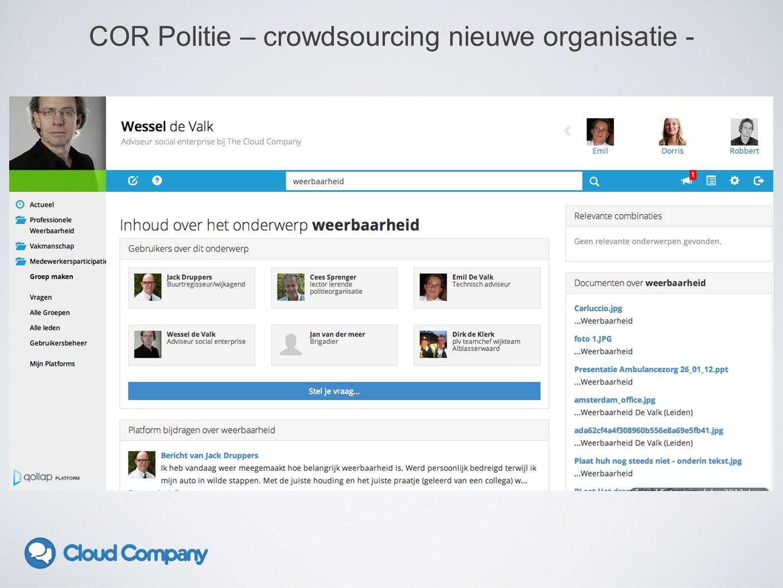 COR Politie – crowdsourcing nieuwe organisatie -