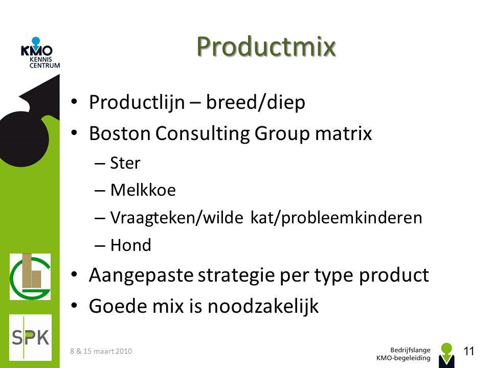 Productmix Productlijn – breed/diep Boston Consulting Group matrix – Ster – Melkkoe – Vraagteken/wilde kat/probleemkinderen – Hond Aangepaste strategi