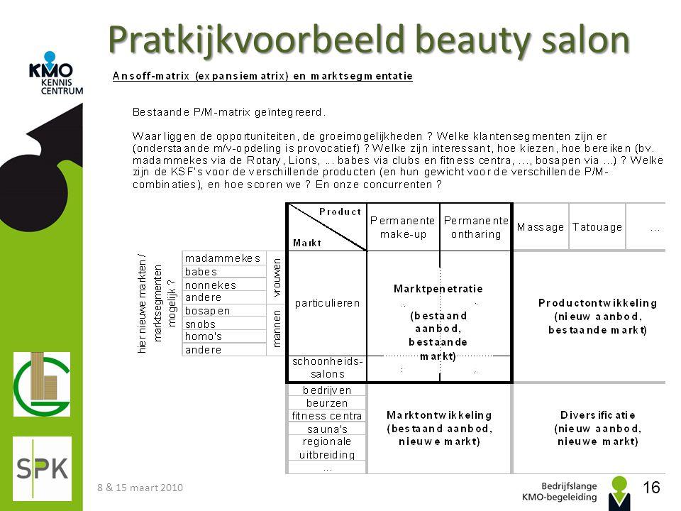 Pratkijkvoorbeeld beauty salon 8 & 15 maart 2010 16