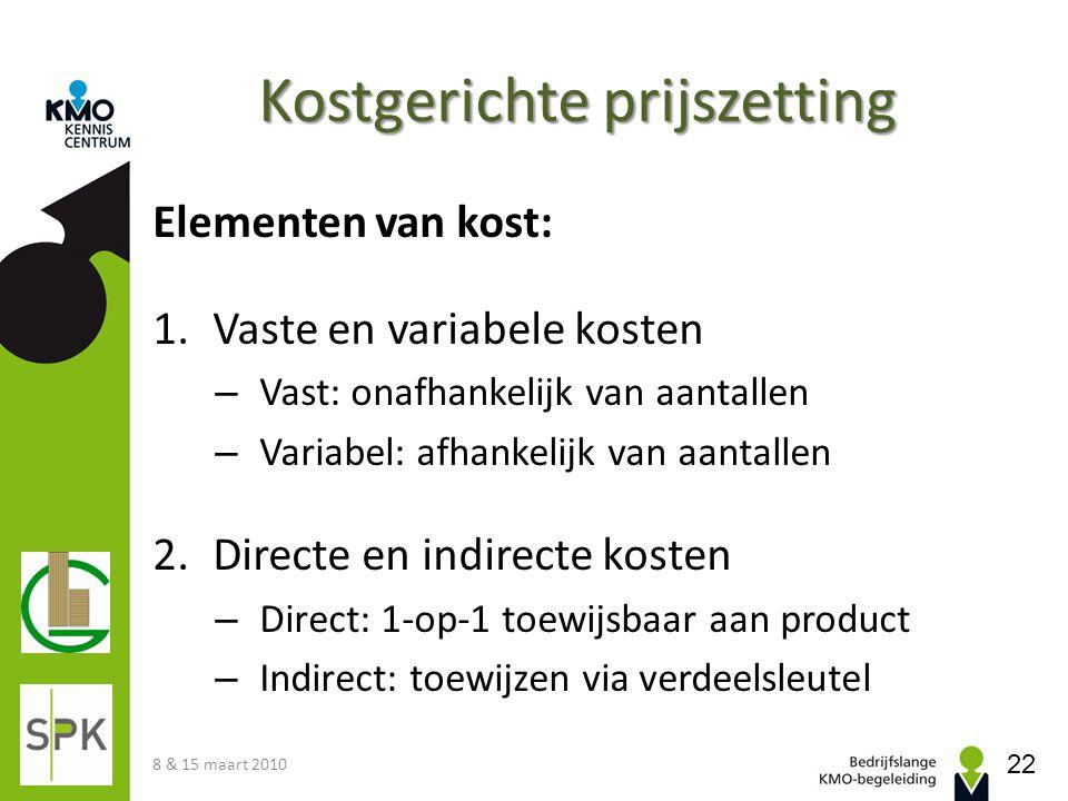 Kostgerichte prijszetting Elementen van kost: 1.Vaste en variabele kosten – Vast: onafhankelijk van aantallen – Variabel: afhankelijk van aantallen 2.