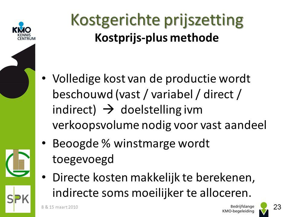 Kostgerichte prijszetting Kostgerichte prijszetting Kostprijs-plus methode Volledige kost van de productie wordt beschouwd (vast / variabel / direct /