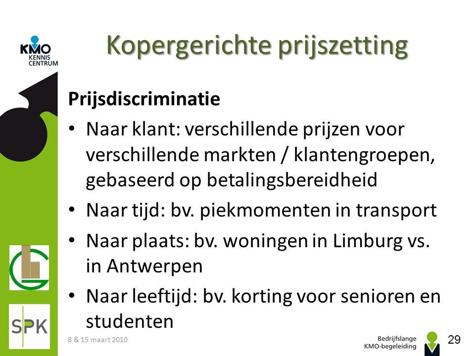 Kopergerichte prijszetting Prijsdiscriminatie Naar klant: verschillende prijzen voor verschillende markten / klantengroepen, gebaseerd op betalingsber