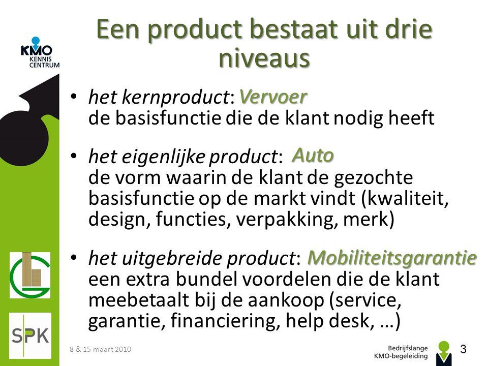 Een product bestaat uit drie niveaus het kernproduct: de basisfunctie die de klant nodig heeft het eigenlijke product: de vorm waarin de klant de gezo