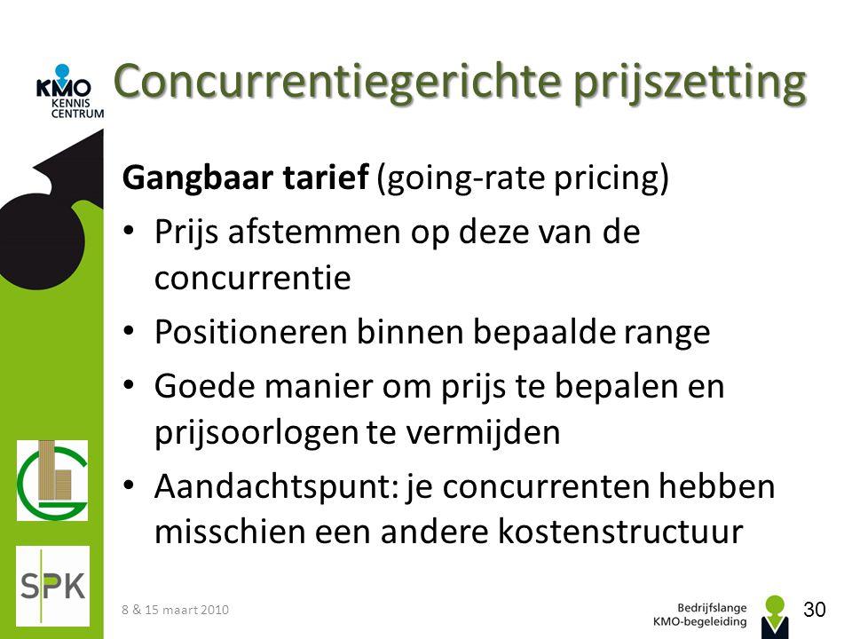Concurrentiegerichte prijszetting Gangbaar tarief (going-rate pricing) Prijs afstemmen op deze van de concurrentie Positioneren binnen bepaalde range