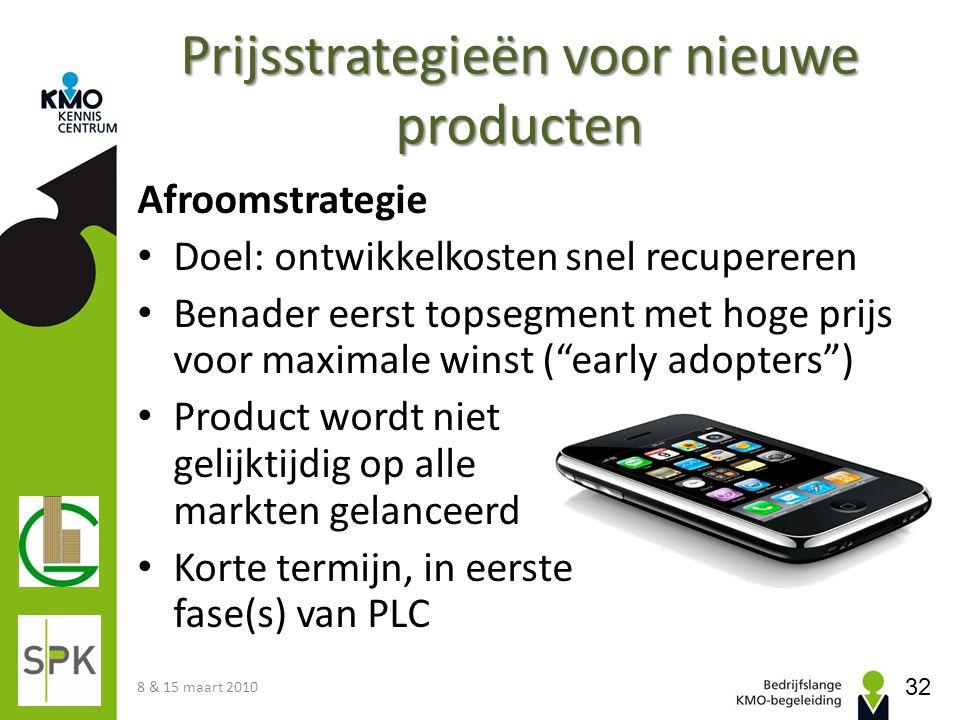 Prijsstrategieën voor nieuwe producten Afroomstrategie Doel: ontwikkelkosten snel recupereren Benader eerst topsegment met hoge prijs voor maximale wi