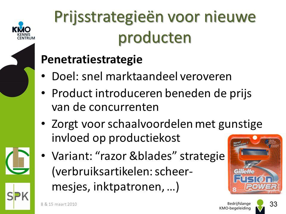 Prijsstrategieën voor nieuwe producten Penetratiestrategie Doel: snel marktaandeel veroveren Product introduceren beneden de prijs van de concurrenten
