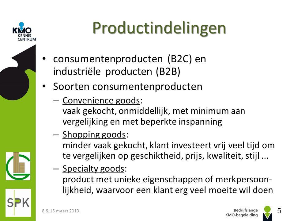 Productindelingen consumentenproducten (B2C) en industriële producten (B2B) Soorten consumentenproducten – Convenience goods: vaak gekocht, onmiddelli