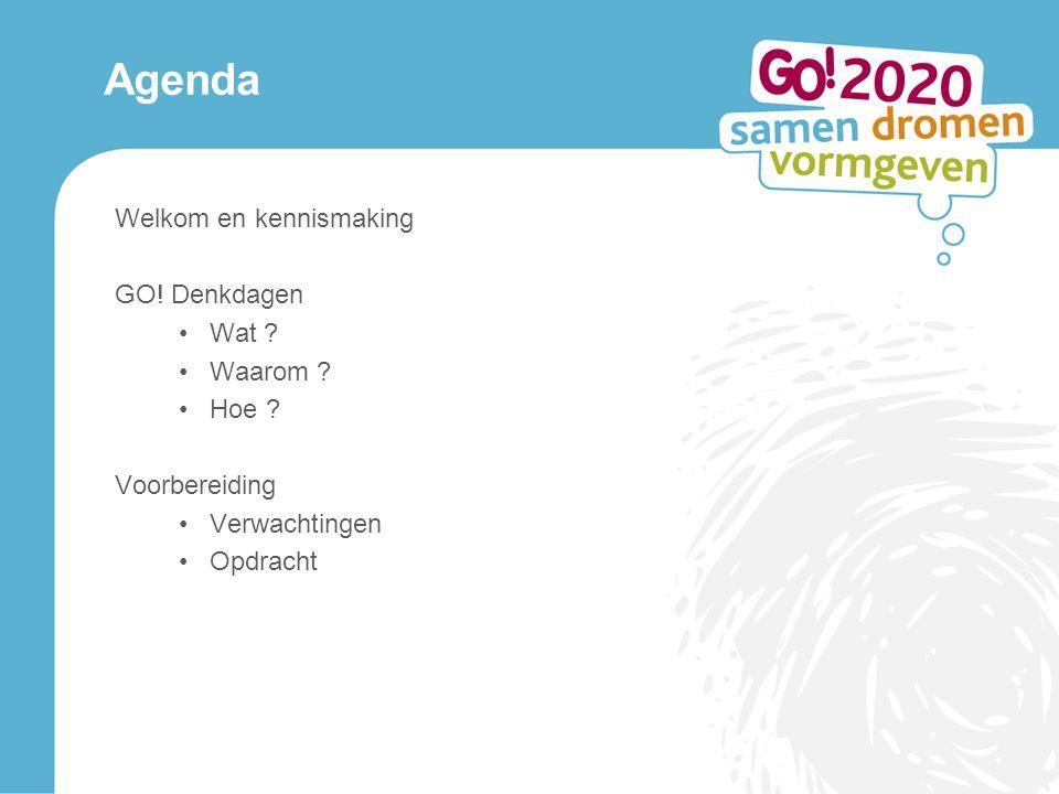 Agenda Welkom en kennismaking GO. Denkdagen Wat .