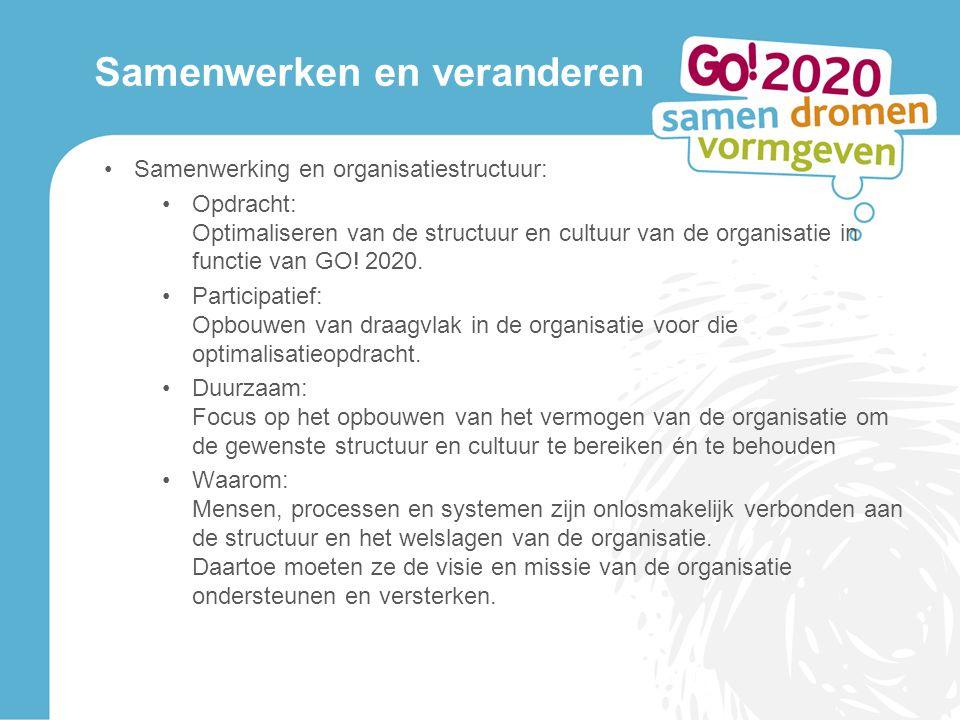 Samenwerken en veranderen Samenwerking en organisatiestructuur: Opdracht: Optimaliseren van de structuur en cultuur van de organisatie in functie van GO.