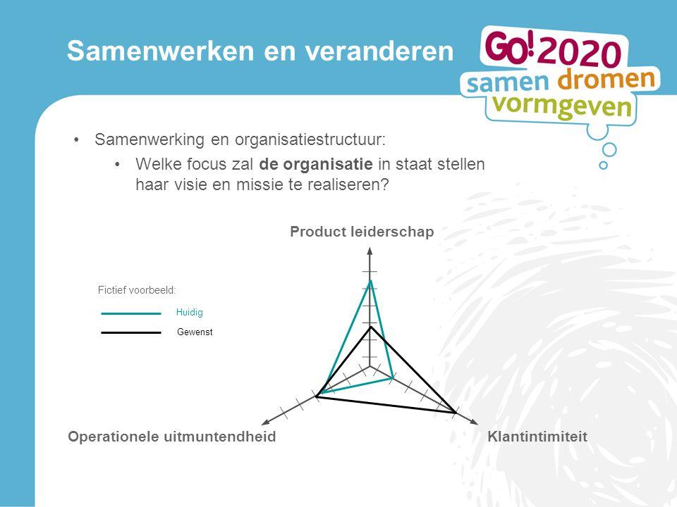 Samenwerken en veranderen Samenwerking en organisatiestructuur: Welke focus zal de organisatie in staat stellen haar visie en missie te realiseren.