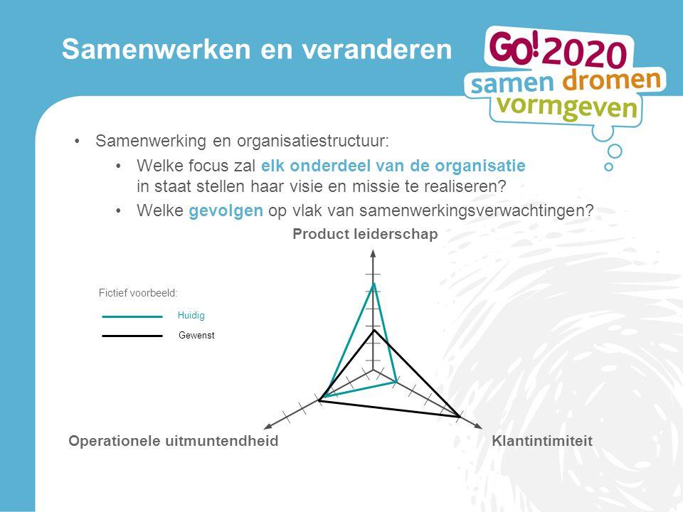 Samenwerken en veranderen Samenwerking en organisatiestructuur: Welke focus zal elk onderdeel van de organisatie in staat stellen haar visie en missie te realiseren.