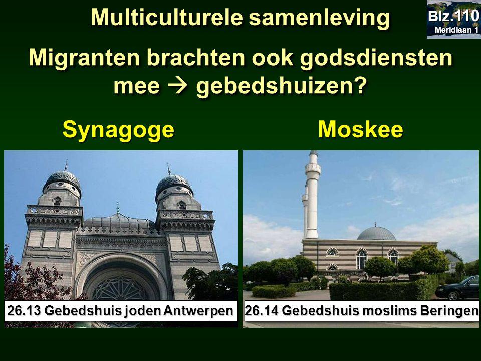 Migranten brachten ook godsdiensten mee  gebedshuizen? Multiculturele samenleving 26.13 Gebedshuis joden Antwerpen 26.14 Gebedshuis moslims Beringen