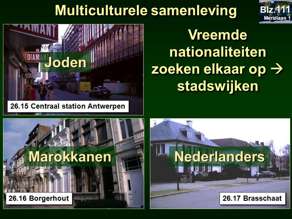 Vreemde nationaliteiten zoeken elkaar op  stadswijken 26.15 Centraal station Antwerpen 26.17 Brasschaat 26.16 Borgerhout Multiculturele samenleving J