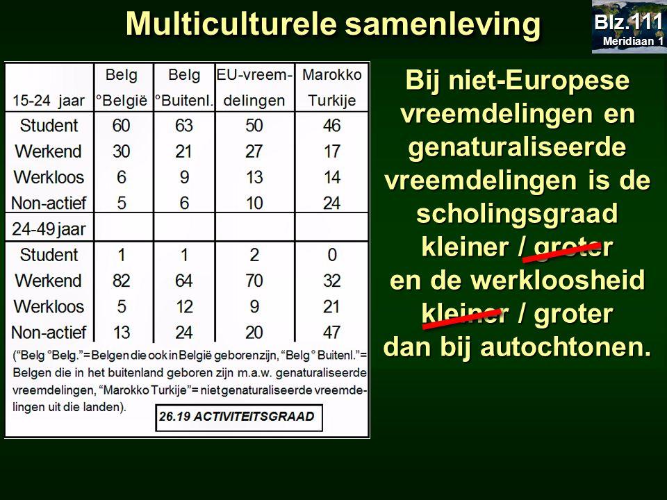 Multiculturele samenleving Bij niet-Europese vreemdelingen en genaturaliseerde vreemdelingen is de scholingsgraad kleiner / groter en de werkloosheid