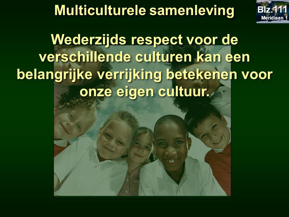 Multiculturele samenleving Wederzijds respect voor de verschillende culturen kan een belangrijke verrijking betekenen voor onze eigen cultuur. Meridia