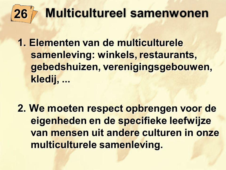 Multicultureel samenwonen 1. Elementen van de multiculturele samenleving: winkels, restaurants, gebedshuizen, verenigingsgebouwen, kledij,... 2. We mo