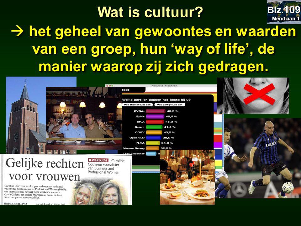 Wat is cultuur?  het geheel van gewoontes en waarden van een groep, hun 'way of life', de manier waarop zij zich gedragen. Meridiaan 1 Meridiaan 1 Bl