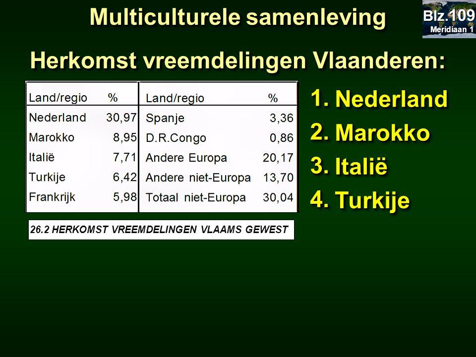 Herkomst vreemdelingen Vlaanderen: 1.1. NederlandNederland 2.2. MarokkoMarokko 3.3. ItaliëItalië 4.4. TurkijeTurkije Multiculturele samenleving 26.2 H