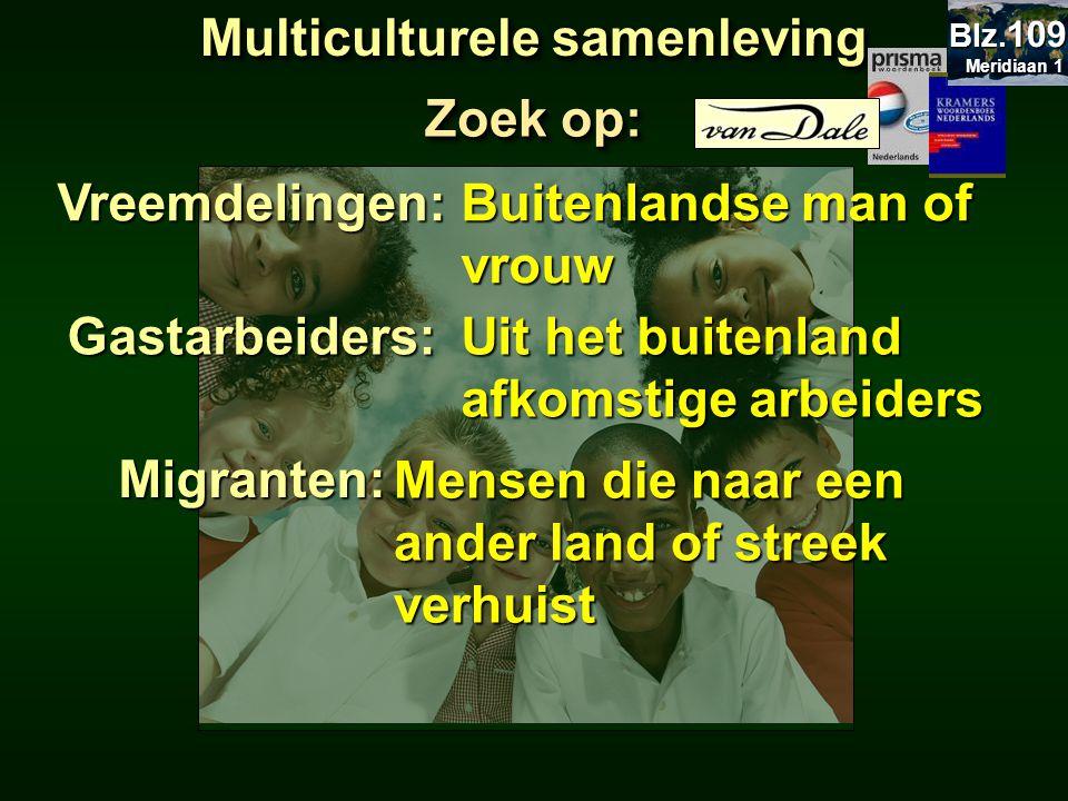 Zoek op: Allochtonen:Allochtonen: Niet-oorspronkelijke bewoners Autochtonen:Autochtonen: Oorspronkelijke bewoners Multiculturele samenleving Meridiaan 1 Meridiaan 1 Blz.