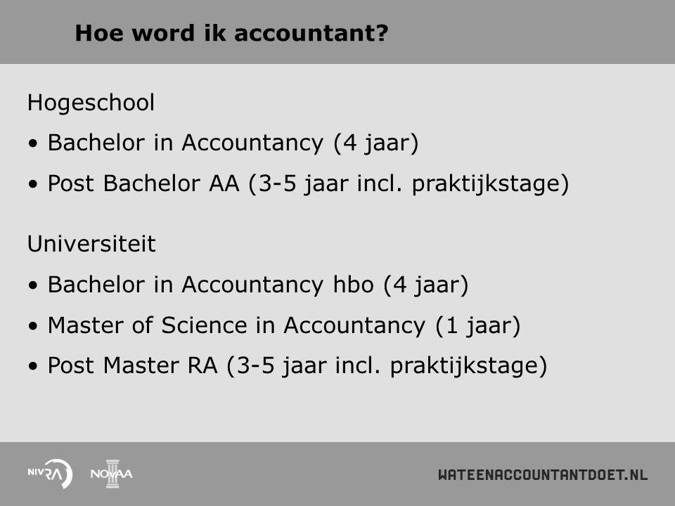 Hoe word ik accountant? Hogeschool Bachelor in Accountancy (4 jaar) Post Bachelor AA (3-5 jaar incl. praktijkstage) Universiteit Bachelor in Accountan