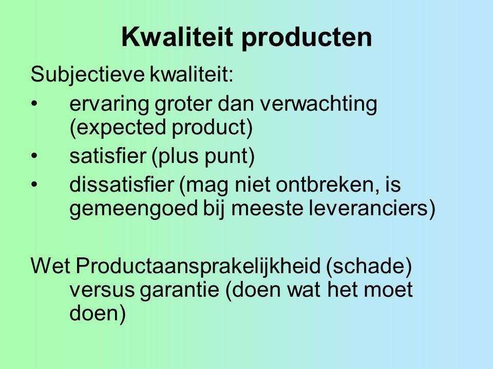 Kwaliteit producten Subjectieve kwaliteit: ervaring groter dan verwachting (expected product) satisfier (plus punt) dissatisfier (mag niet ontbreken,