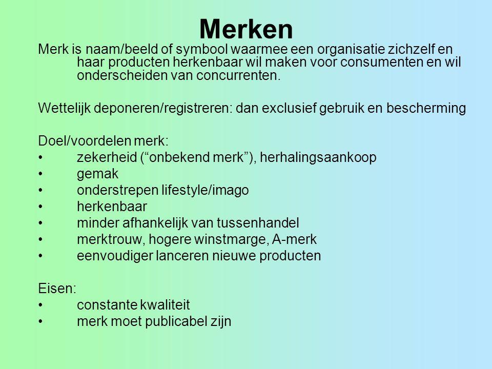 Merken Merk is naam/beeld of symbool waarmee een organisatie zichzelf en haar producten herkenbaar wil maken voor consumenten en wil onderscheiden van