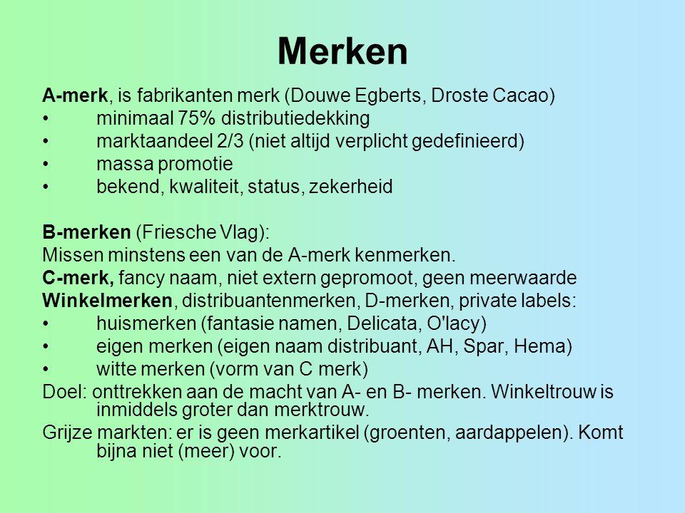 Merken A-merk, is fabrikanten merk (Douwe Egberts, Droste Cacao) minimaal 75% distributiedekking marktaandeel 2/3 (niet altijd verplicht gedefinieerd)