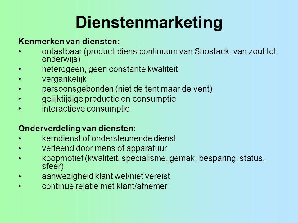 Dienstenmarketing Kenmerken van diensten: ontastbaar (product-dienstcontinuum van Shostack, van zout tot onderwijs) heterogeen, geen constante kwalite