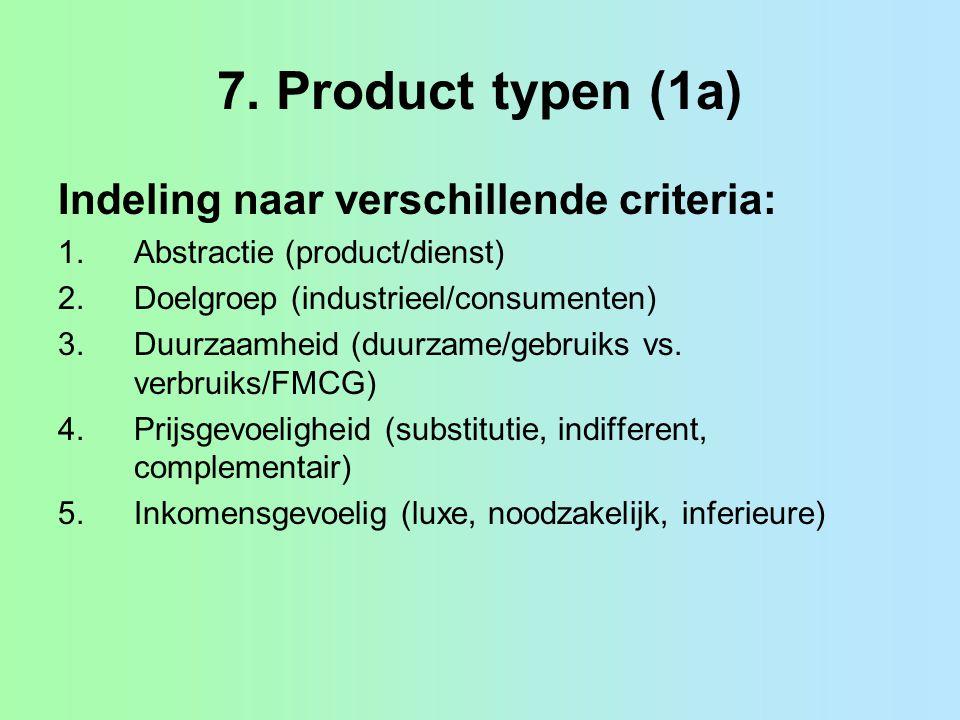 7. Product typen (1a) Indeling naar verschillende criteria: 1.Abstractie (product/dienst) 2.Doelgroep (industrieel/consumenten) 3.Duurzaamheid (duurza