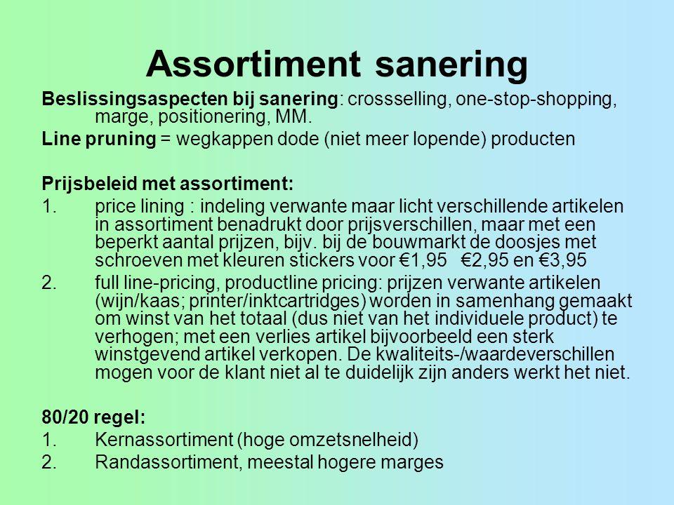 Assortiment sanering Beslissingsaspecten bij sanering: crossselling, one-stop-shopping, marge, positionering, MM. Line pruning = wegkappen dode (niet