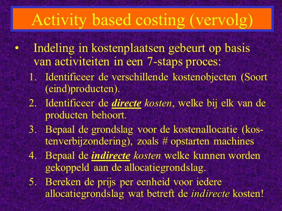 Activity based costing (vervolg) Indeling in kostenplaatsen gebeurt op basis van activiteiten in een 7-staps proces: 1.Identificeer de verschillende kostenobjecten (Soort (eind)producten).