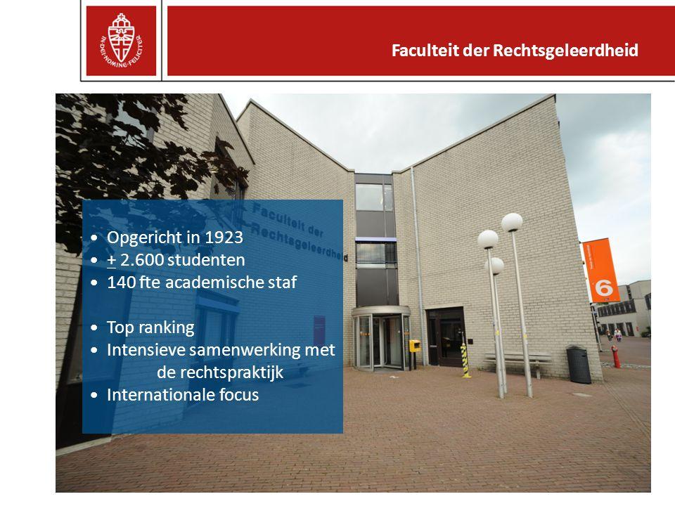 Opgericht in 1923 + 2.600 studenten 140 fte academische staf Top ranking Intensieve samenwerking met de rechtspraktijk Internationale focus Faculteit der Rechtsgeleerdheid