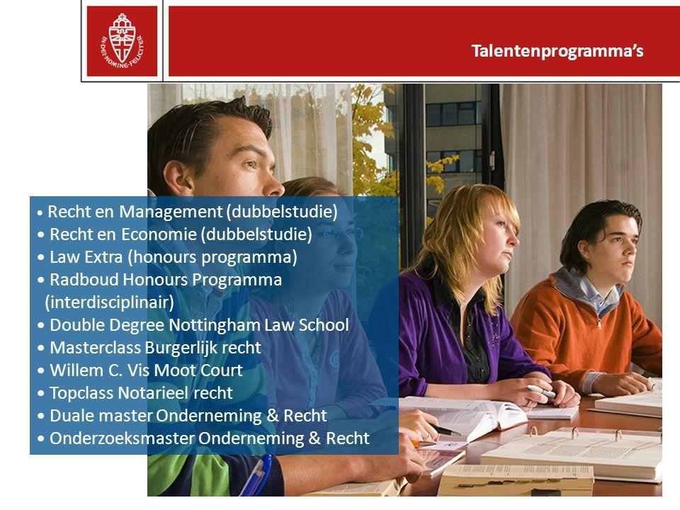 Recht en Management (dubbelstudie) Recht en Economie (dubbelstudie) Law Extra (honours programma) Radboud Honours Programma (interdisciplinair) Double Degree Nottingham Law School Masterclass Burgerlijk recht Willem C.