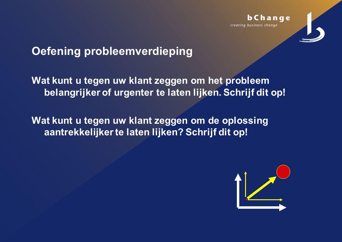 Oefening probleemverdieping Wat kunt u tegen uw klant zeggen om het probleem belangrijker of urgenter te laten lijken.
